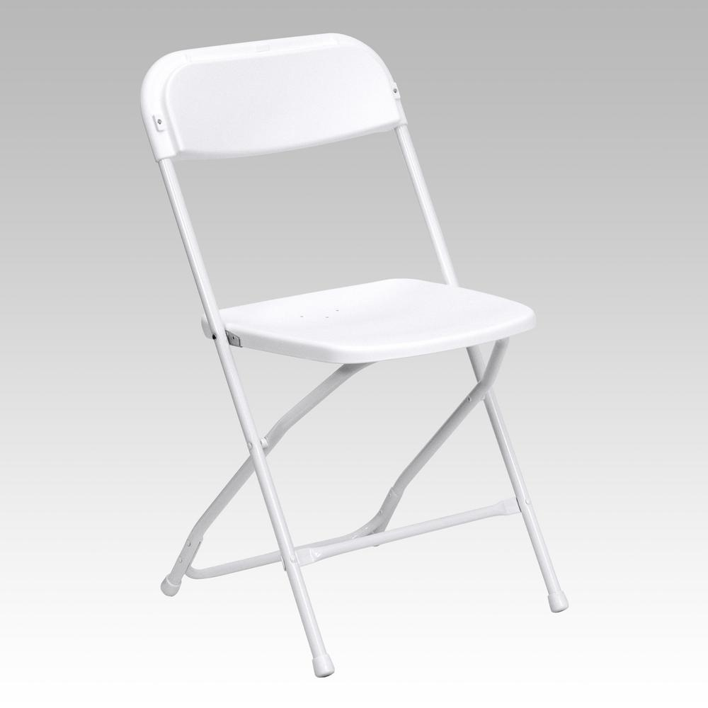 Beau Flash Furniture Hercules Series 800 Lb. Capacity Premium White Plastic  Folding Chair