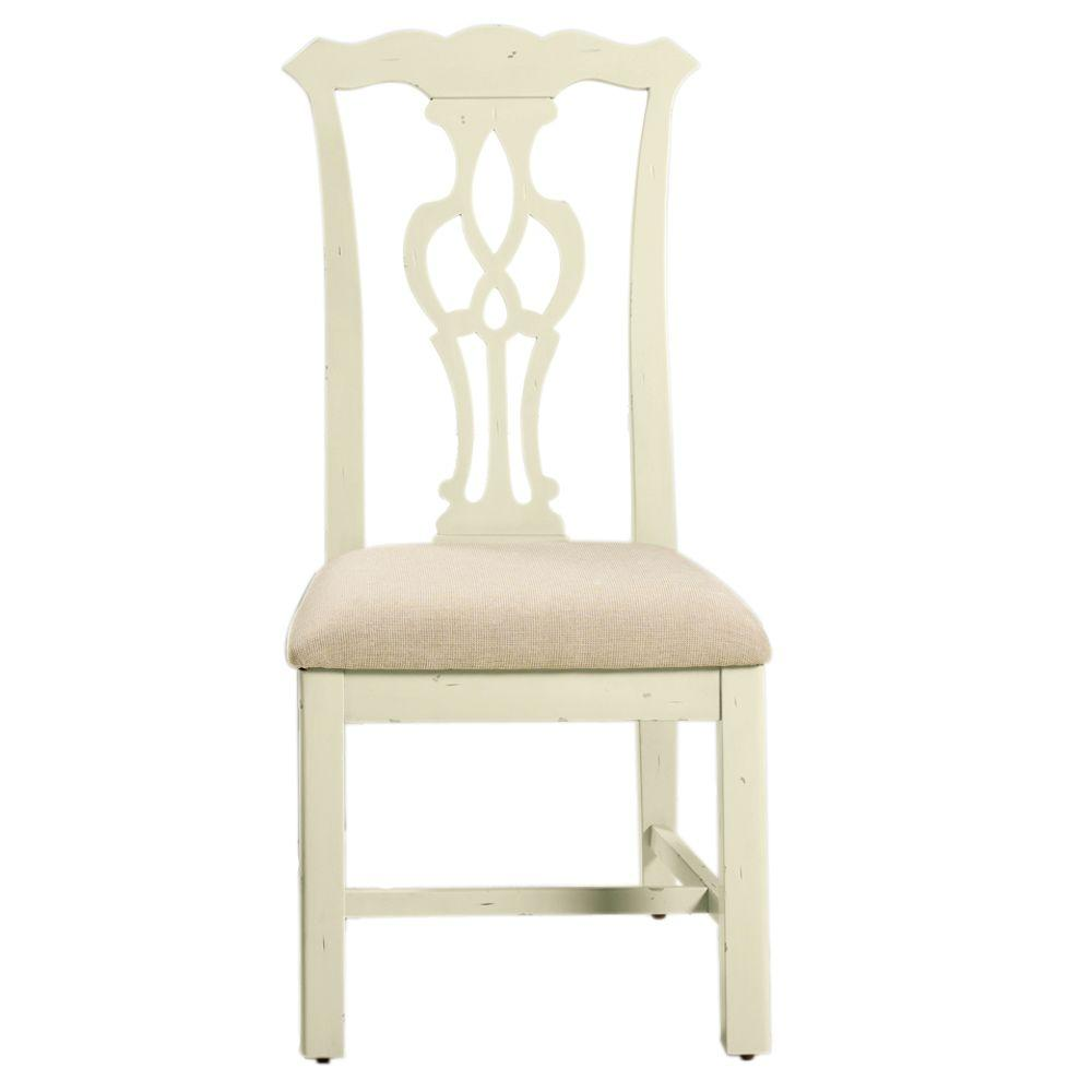 Home Decorators Collection 19 in. W Chippendale Antique Ivory Side Chair