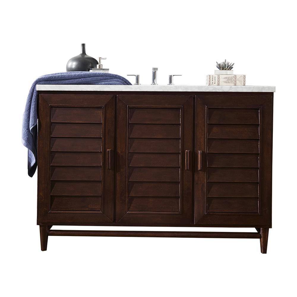 James Martin Vanities Portland 48 in. W Single Vanity in Burnished Mahogany with Soild Surface Vanity Top in Arctic Fall with White Basin