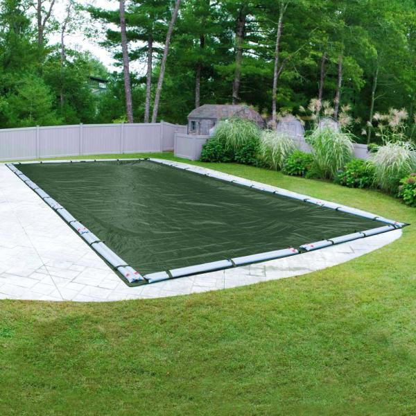 Supreme 20 ft. x 45 ft. Rectangular Green Solid In-Ground Winter Pool Cover