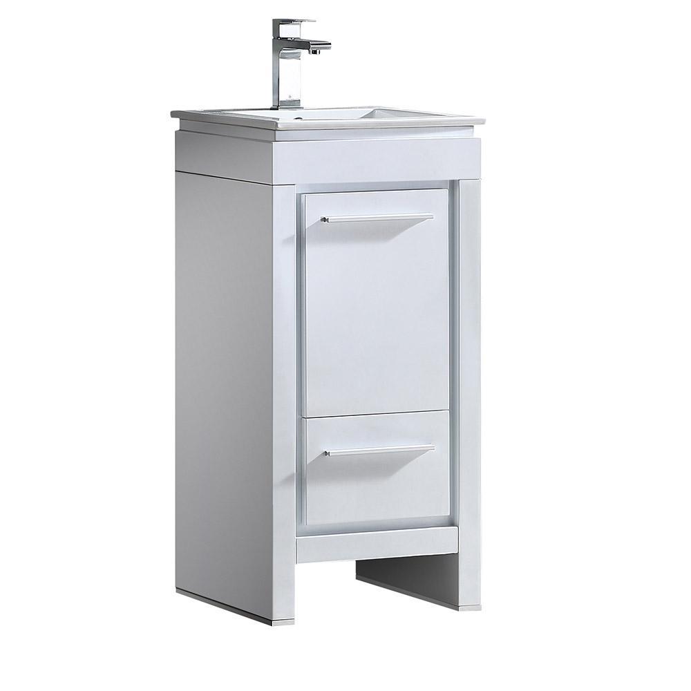 Fresca Allier 16 in. Bath Vanity in White with Ceramic Vanity Top in White with White Basin