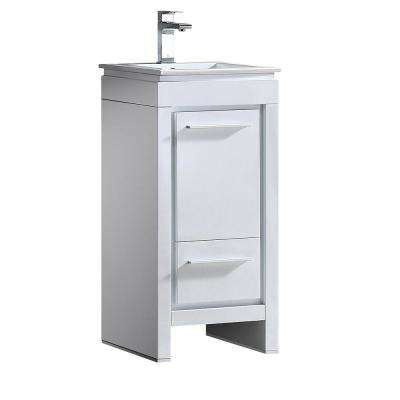 Allier 16 in. Bath Vanity in White with Ceramic Vanity Top in White with White Basin