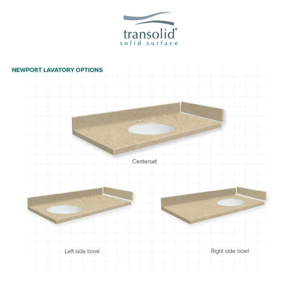 Transolid 42 5 In W X 22 25 In D Solid Surface Vanity Top In Almond Sky With 4 In Centerset Vt42 5x22 1oi 96 A W 4 The Home Depot