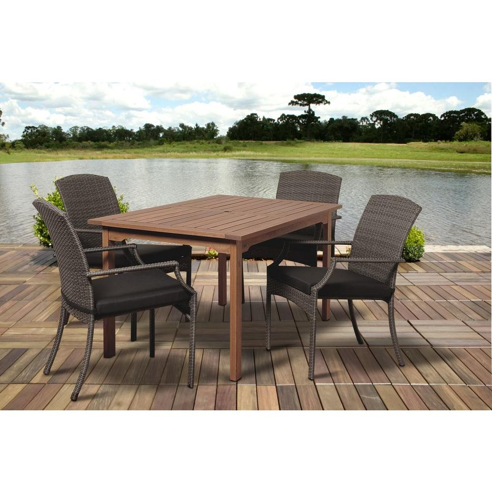 Dale 5-Piece Eucalyptus Rectangular Patio Dining Set with Grey Cushions