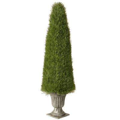 60 in. Upright Artificial Juniper Tree in Silver Urn with 1778 Tips