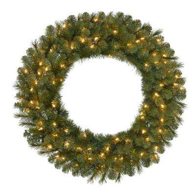 36 in. Pre-Lit LED Artificial Wesley Spruce Christmas Wreath with 250 Tips and 100 Warm White Lights