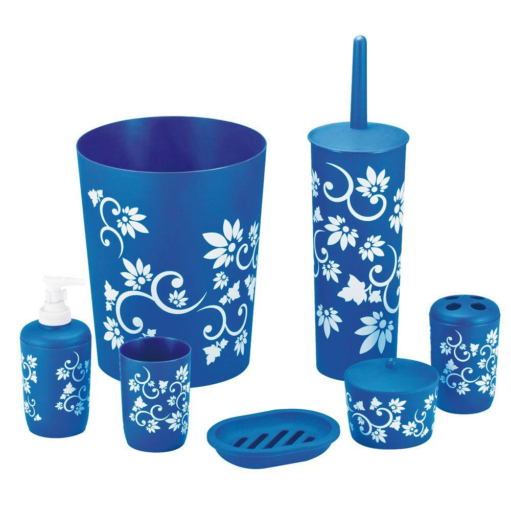 Hopeful floral 7 piece bath accessory set in blue ba120200 for Floral bath accessories