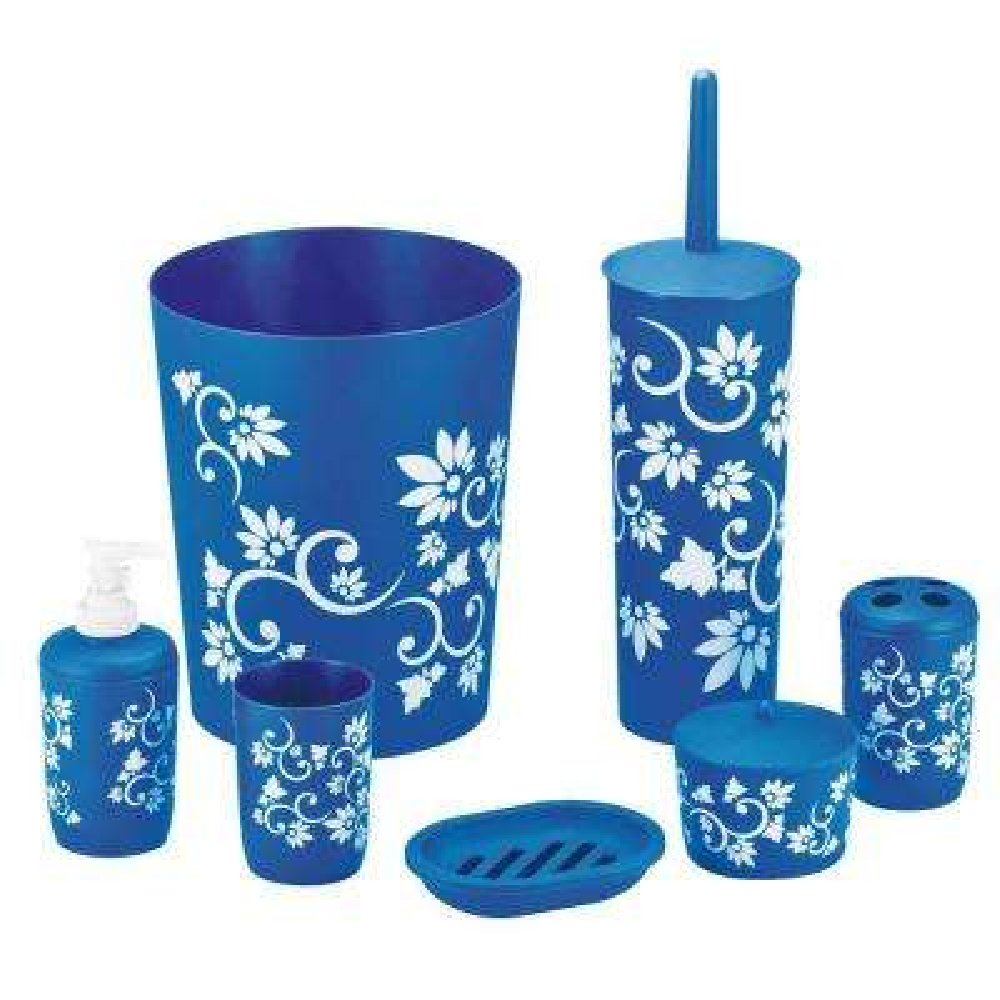 Floral 7-Piece Bath Accessory Set in Blue