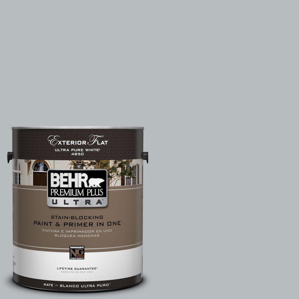 Behr Premium Plus Ultra 1 Gal Ul260 19 French Silver Flat Exterior Paint 485401 The Home Depot