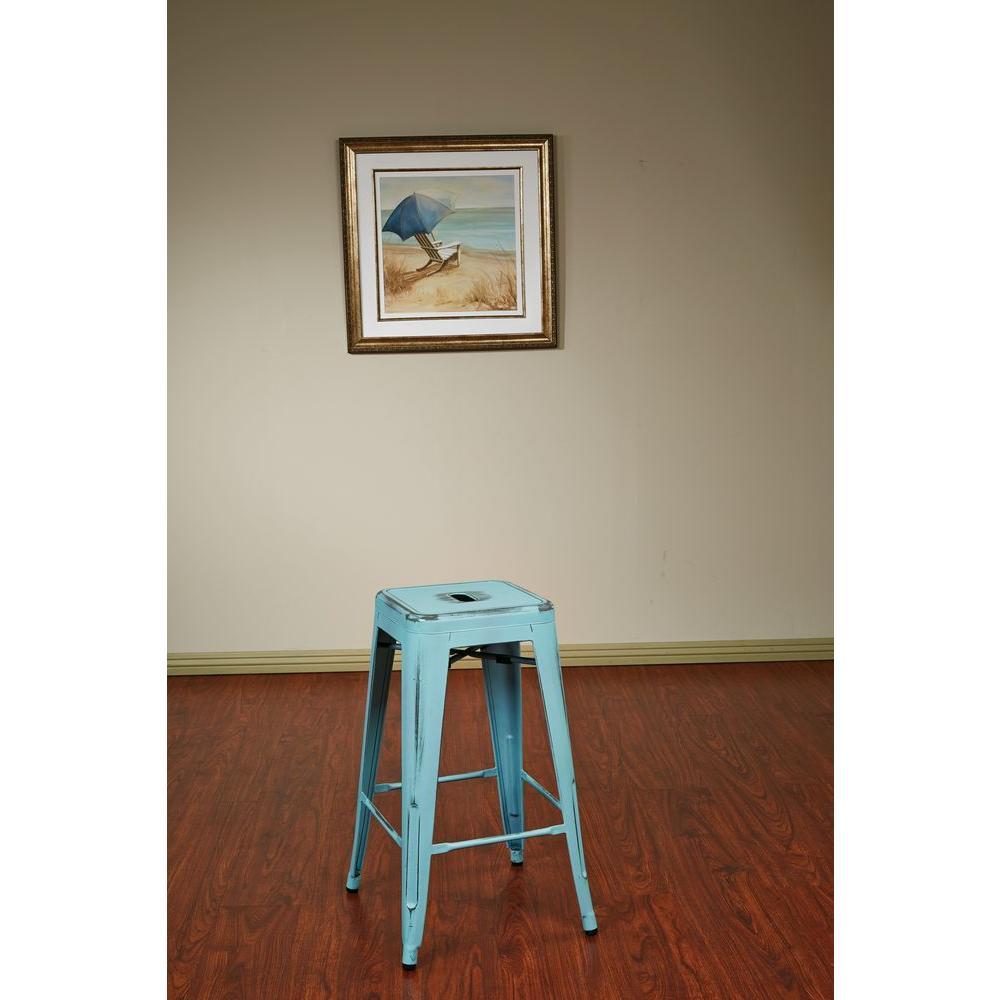 Antique sky blue bar stool set of 4
