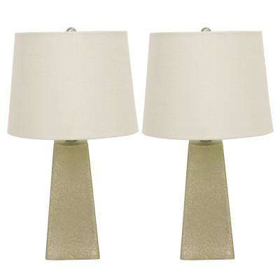 Mercury Glass 20.75 in. Morning Dew Beige Table Lamps with Shade (Set of 2)