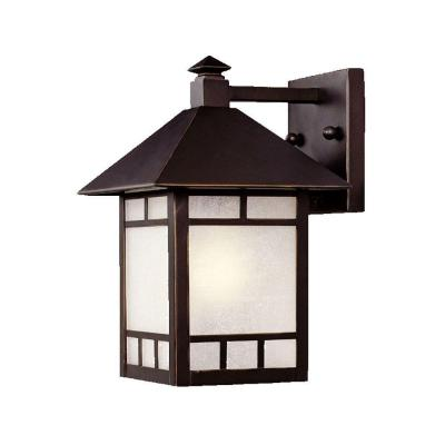 Artisan Collection 1-Light Architectural Bronze Outdoor Wall Lantern Sconce