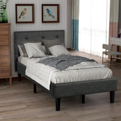 Upholstered Button-Tufted Platform Bed with Strong Wood Slat Support(Twin, Gray)