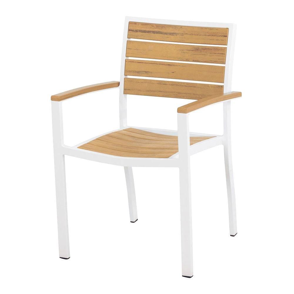 Euro Satin White/Plastique Patio Dining Arm Chair