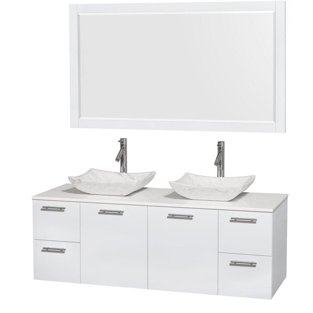 Wyndham Collection Amare 60 in. Double Vanity in Glossy White with Solid-Surface Vanity Top in White, Marble Sinks, 58 in. Mirror