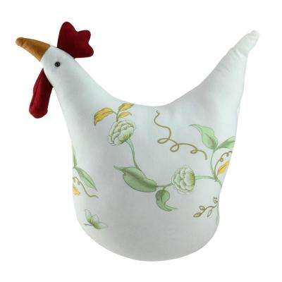 12 in. White Soft Green and Yellow Floral Rooster Chicken Spring Decoration