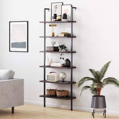 Theo Nutmeg Brown Wood 6-Shelf Tall Ladder Bookcase Wall Mount Bookshelf Matte Black Metal Frame