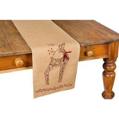 0.2 in. H x 13 in. W x 36 in. D Rustic Reindeer Jute Christmas Table Runner