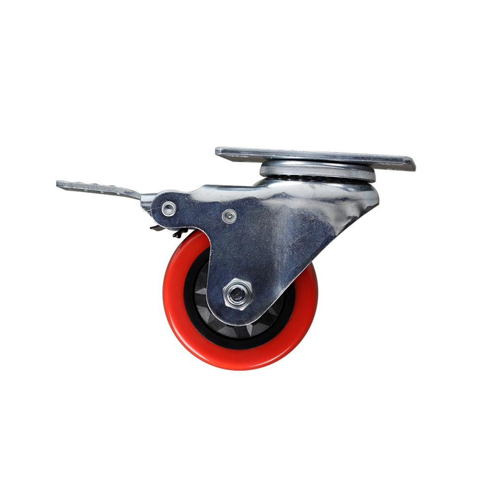 3 in. Red TPU Heavy-Duty Swivel Plate Caster with Brake 175 lbs. Weight Capacity