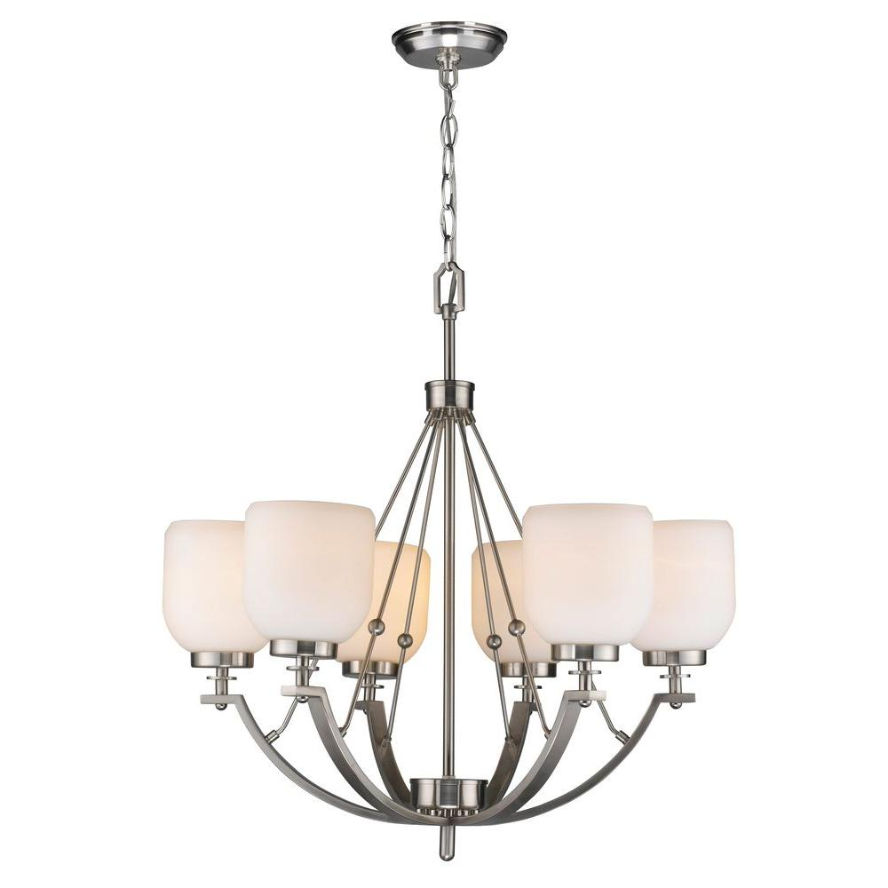 World Imports 6-Light Brushed Nickel Chandelier With White