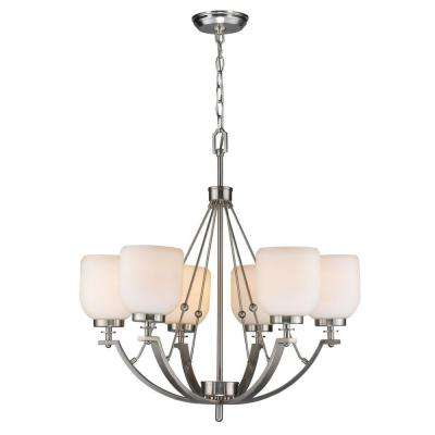 6-Light Brushed Nickel Chandelier with White Frosted Glass Shade