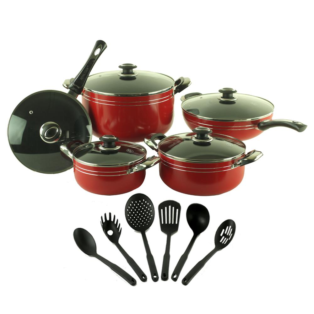 Royal Cook 16 Piece Aluminum Non Stick Cookware Set Rc 16116 The