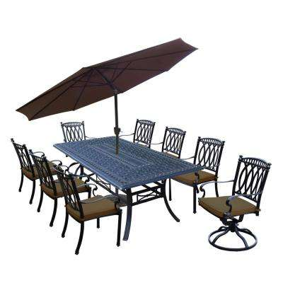 Morocco Aluminum 11-Piece Outdoor Dining Set with Sunbrella Brown Cushions and Beige Umbrella