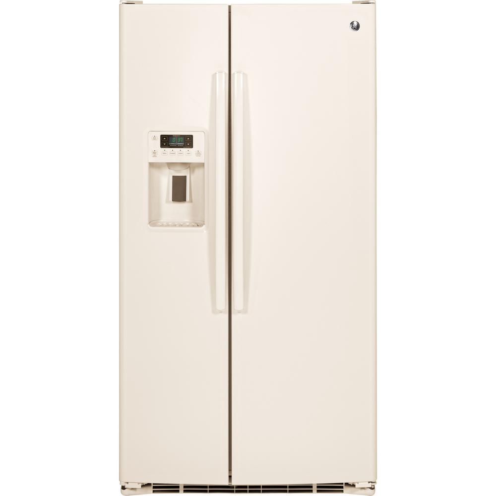 Ge 30 inch side by side white refrigerator - Ge Appliances 25 4 Cu Ft Side By Side Refrigerator In Bisque