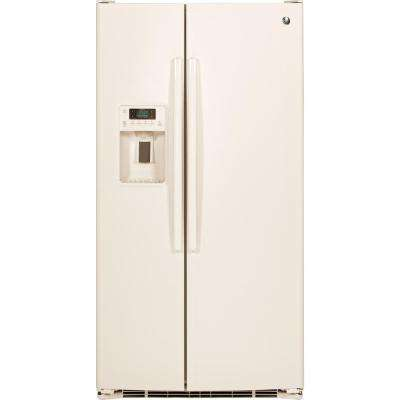 36 in. W 25.4 cu. ft. Side by Side Refrigerator in Bisque