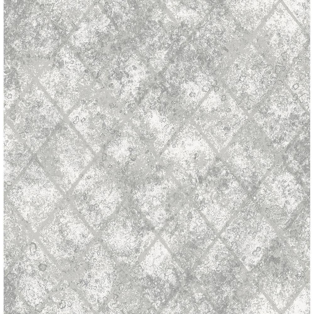 Brewster silver mercury glass distressed metallic wallpaper sample