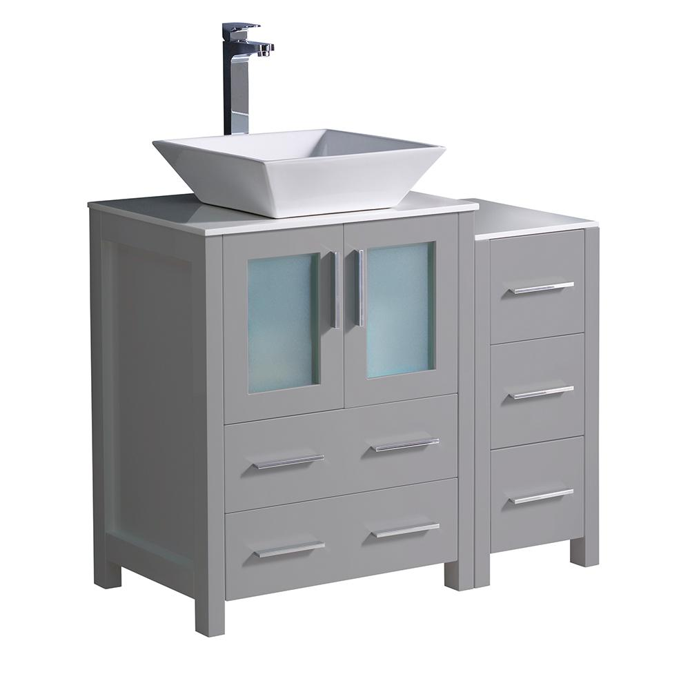 Fresca Torino 36 In Bath Vanity Gray With Gl Stone Top White Vessel Sink And Side Cabinet