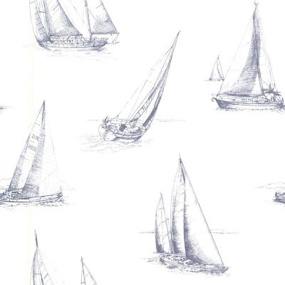 56.4 sq. ft. Voyage Navy Sailboats Wallpaper