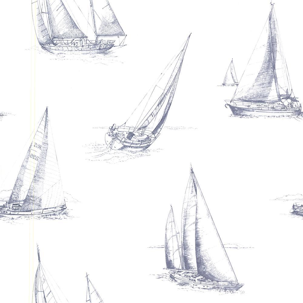 56.4 sq. ft. Voyage Navy Sailboats Wallpaper