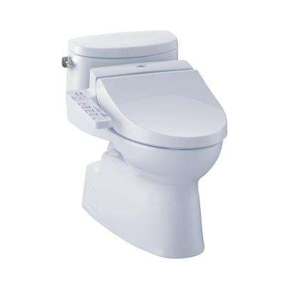 Carolina II Connect+ 1-Piece 1.28 GPF Elongated Toilet with Washlet C100 Bidet Seat and CeFiOntect in Cotton White
