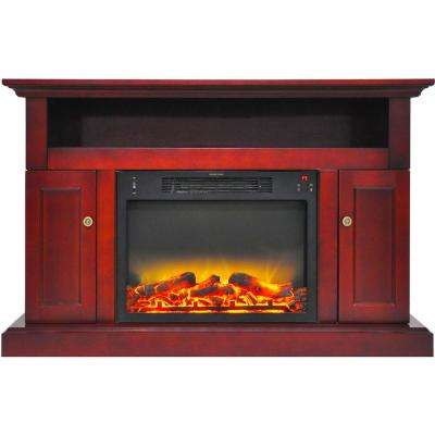Kingsford 47 in. Electric Fireplace with an Enhanced Log Display and Entertainment Stand in Cherry