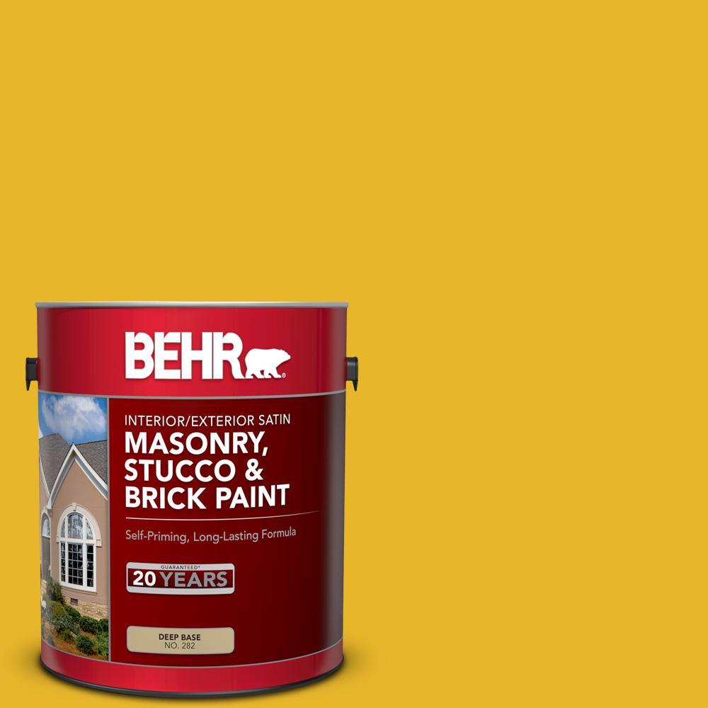 BEHR 1 gal. #OSHA-6 OSHA SAFETY YELLOW Satin Interior/Exterior Masonry, Stucco and Brick Paint