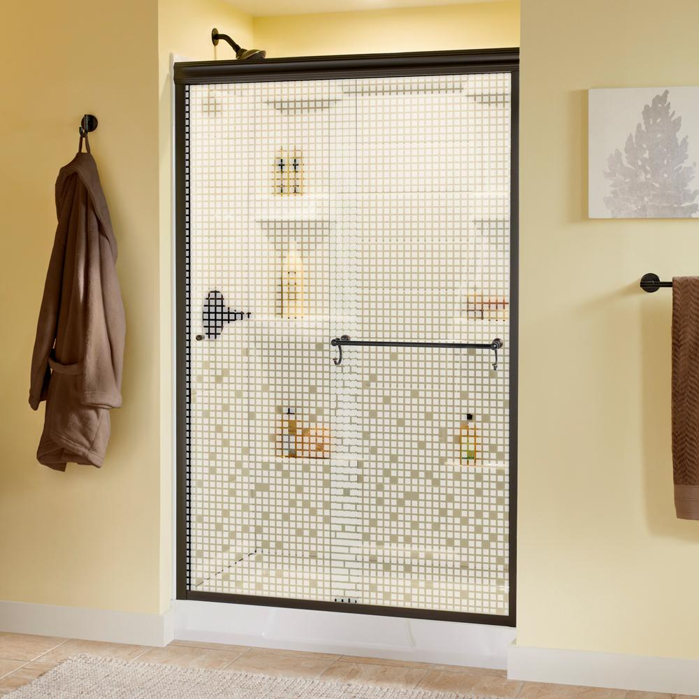 Delta Portman 48 in. x 70 in. Semi-Frameless Traditional Sliding Shower Door in Bronze with Mozaic Glass was $429.0 now $339.0 (21.0% off)