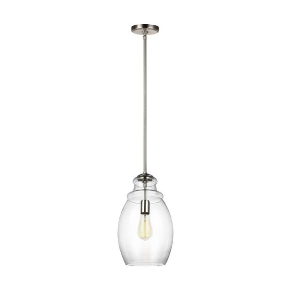 Marino 1-Light Satin Nickel Pendant with Clear Glass Shade