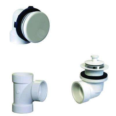 Illusionary Overflow, Sch. 40 PVC Plumbers Pack with Lift and Turn Bath Drain in Powder Coat White