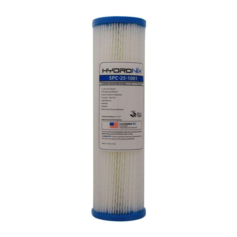"Washable Polyester Pleated Sediment Water Filter Cartridge 2.5 x10/"" 1 Micron"