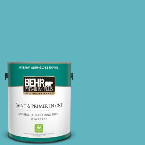 Behr Premium Plus 1 Gal 520d 5 Tropical Tide Semi Gloss Enamel Low Odor Interior Paint And Primer In One 340001 The Home Depot