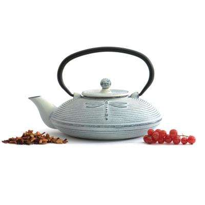3.4-Cup Cast Iron White Dragonfly Teapot