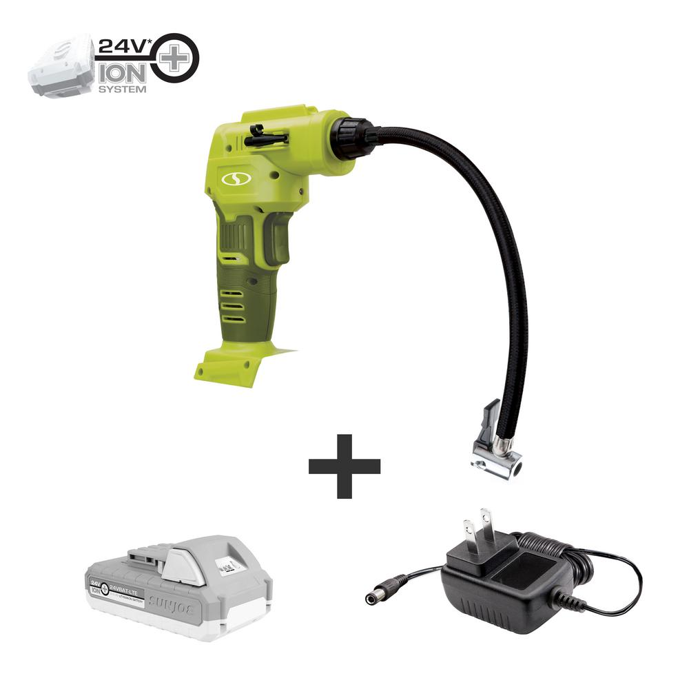 Sun-Joe 24Volts Cordless Portable Inflator and Nozzle Adapters Kit with 2.0 Ah Battery + Charger