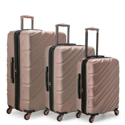 Gilmore 3-Piece Rose Gold Expandable Hardside 4-Wheel Spinner Luggage Set with Push-Button Handle System