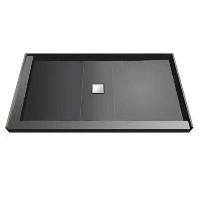 34 in. x 60 in. Double Threshold Shower Base with Center Drain