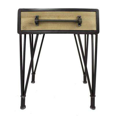 Shelly Charcoal And Natural Wood Wood End Table