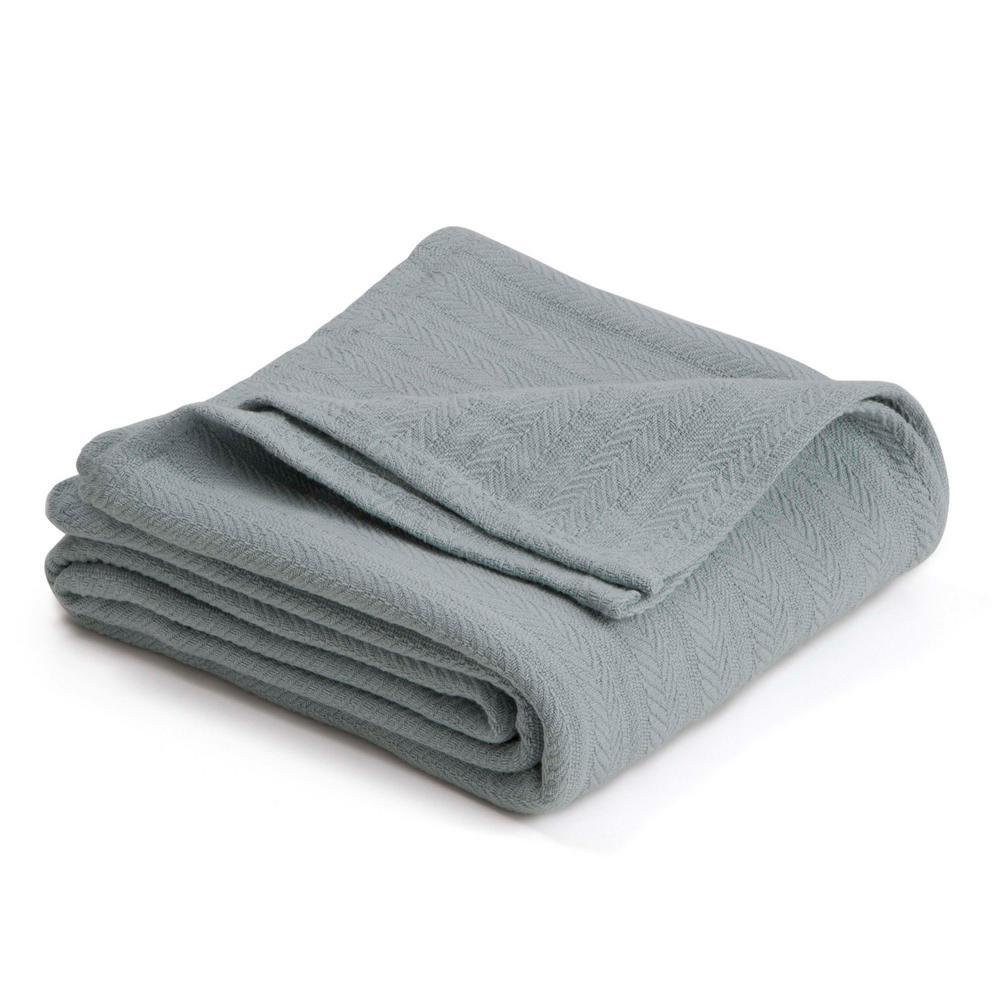 Woven Gray Mist Cotton Full/Queen Blanket