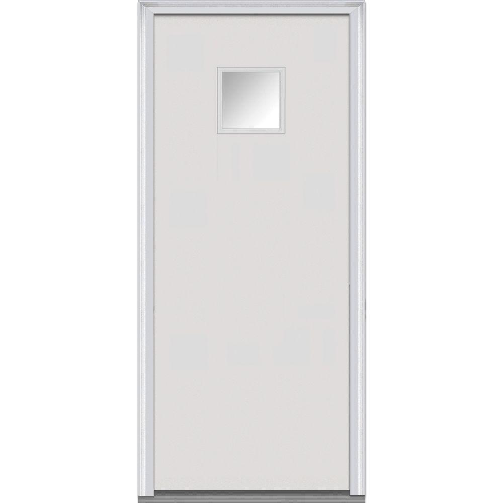30 in. x 80 in. Clear Right-Hand Square 1/4 Lite Flush