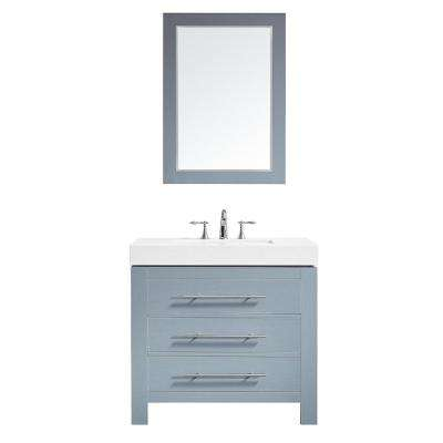 Essex 36 in. W x 22 in. D Bath Vanity in Grey with Quartz Vanity Top in White with White Basin and Mirror