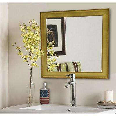 27.5 in. x 27.5 in. Vintage Gold Square Vanity Wall Mirror